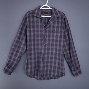 ALFRED SUNG Casual Button Up Shirt Check XL Gray
